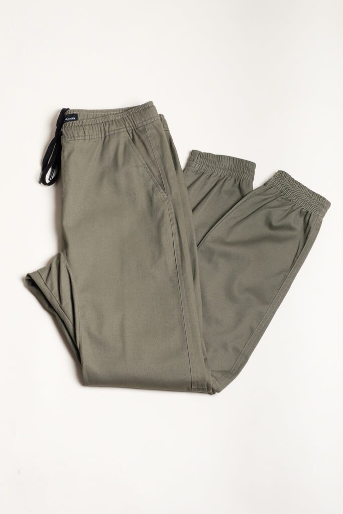 Olive Twill Jogger Pants