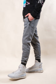 Black Marl Heat Seal Fleece Jogger Pants