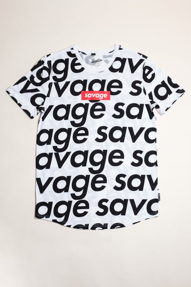 White Savage Repeat Tee Shirt for Men