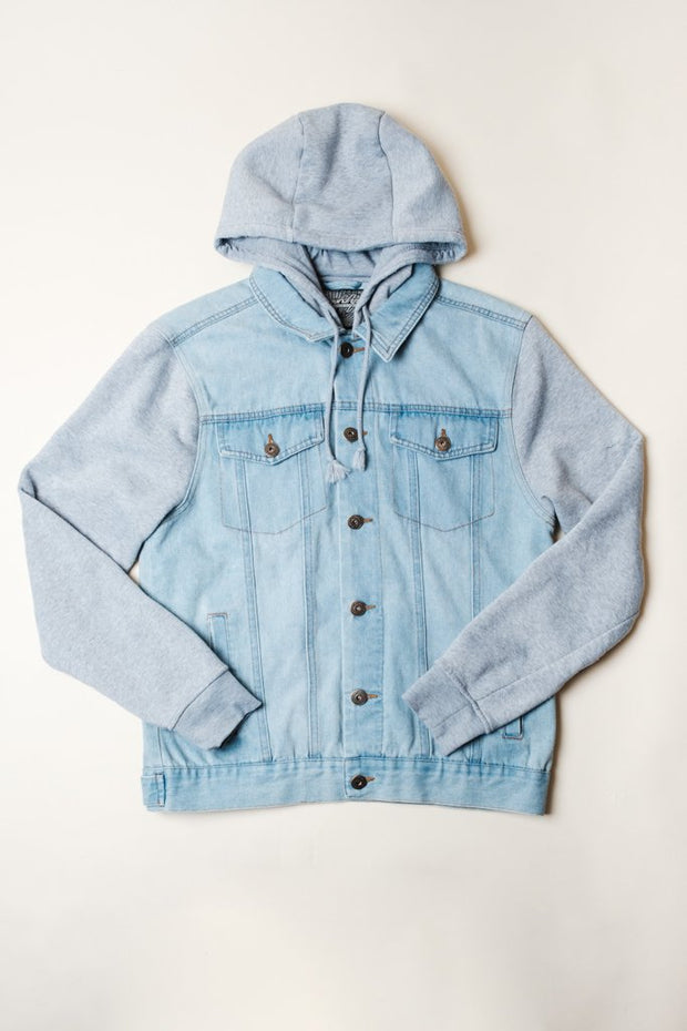 Light Wash Hooded Denim Jacket