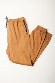Twill Jogger Pants in Tobacco Brown for Men