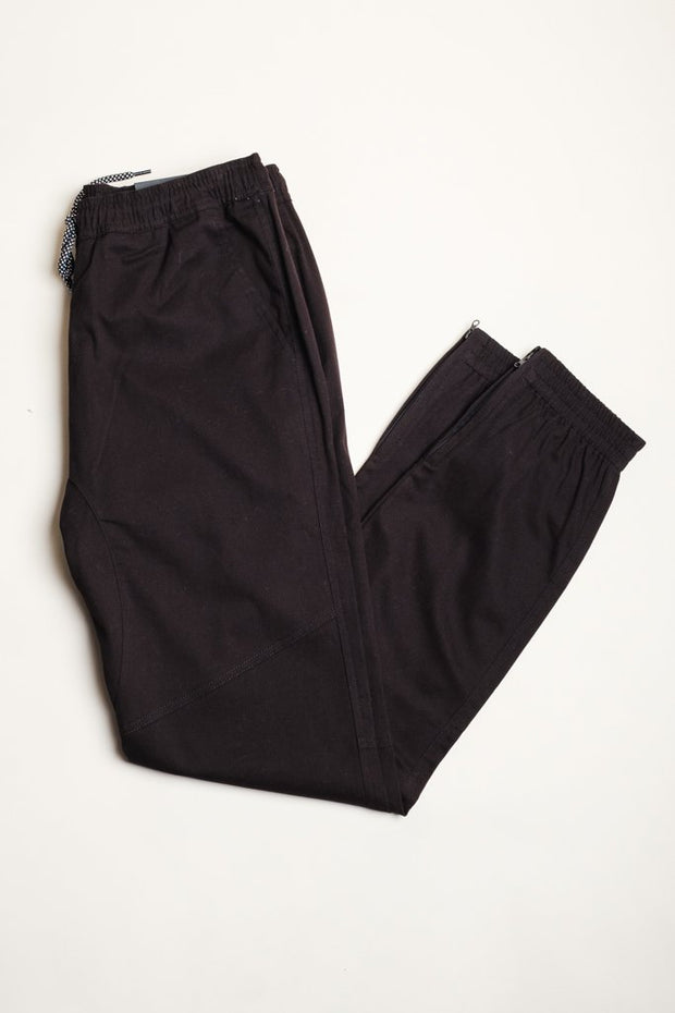 Cotton Twill Black Jogger Pants