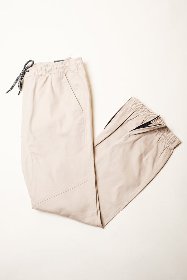 Cotton Twill Khaki Jogger Pants