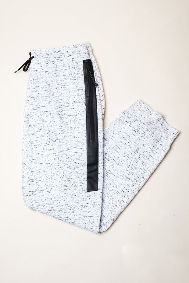 Brooklyn Cloth White Printed Space Dye Heat Seal Jogger Pants
