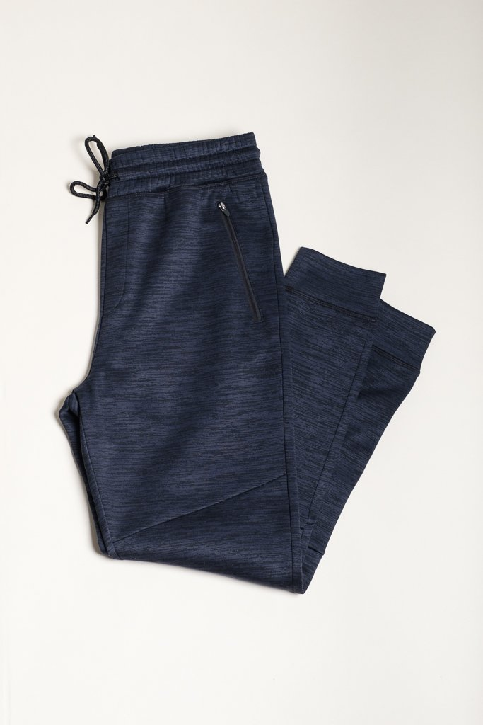 Navy Space Dye Cozy Knit Jogger Pants