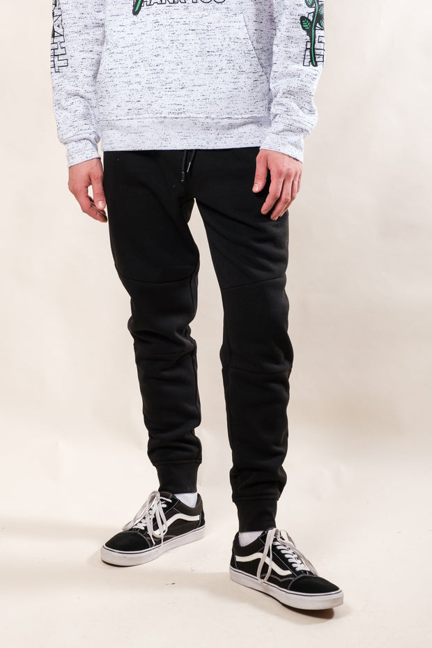 Black Heat Seal Fleece Jogger Pants