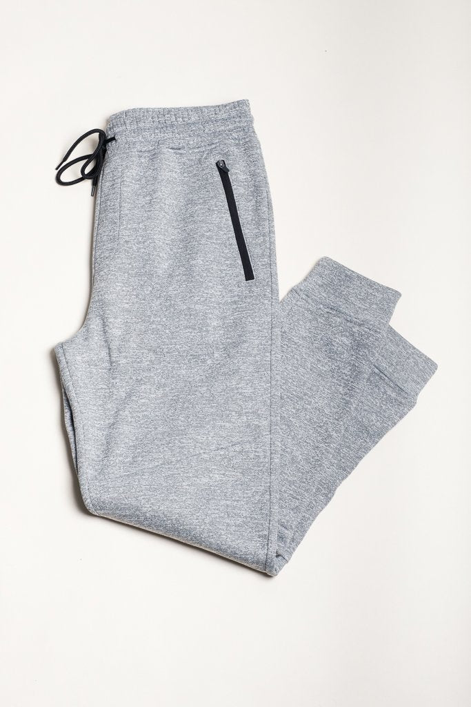 Light Grey Space Dye Cozy Knit Jogger Pants