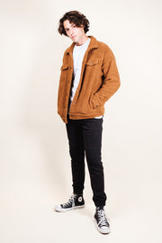 Brooklyn Cloth Tobacco Sherpa Trucker Jacket for Men