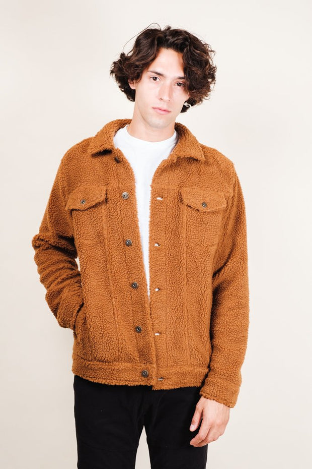 Tobacco Sherpa Trucker Jacket