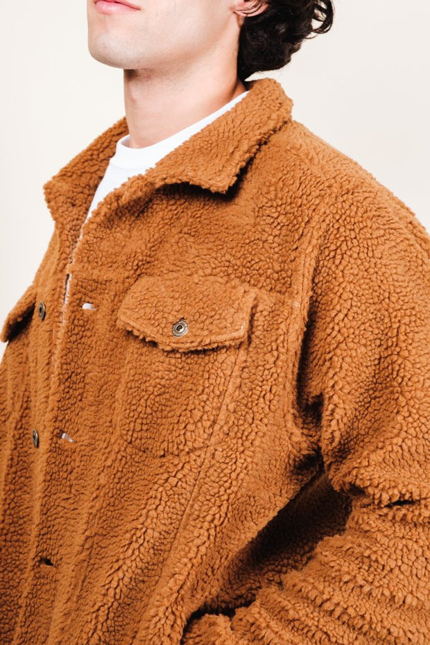 Tobacco Sherpa Trucker Jacket for Men