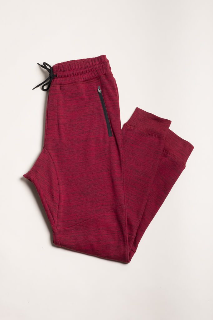 Burgundy Knit Space Dye Jogger Pants