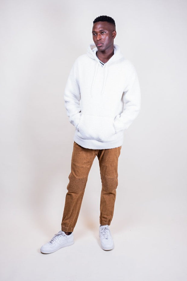 Brooklyn Cloth Ivory Sherpa Pullover Hoodie for Men
