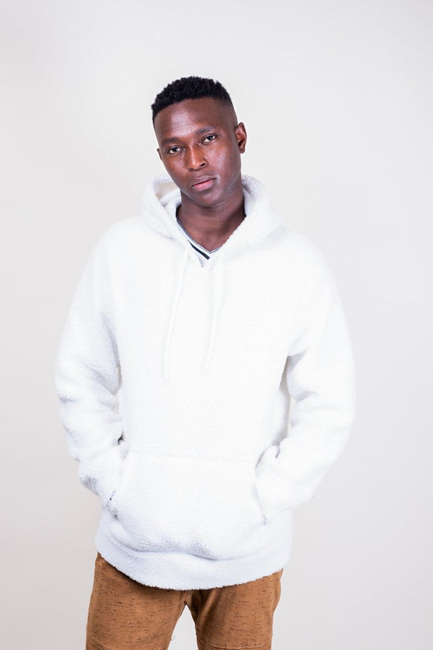 Ivory Sherpa Pullover Hoodie for Men