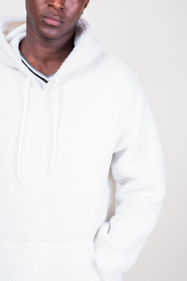 Ivory Sherpa Pullover Hoodie
