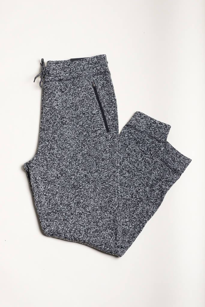 Black Marl Cozy Knit Jogger Pants
