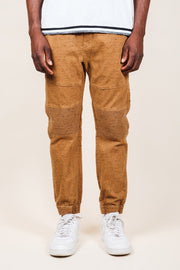 Tobacco Space Dye Moto Twill Jogger Pants