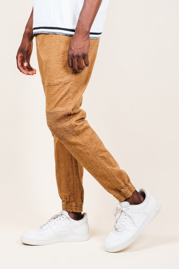 Tobacco Space Dye Moto Twill Jogger Pants for men