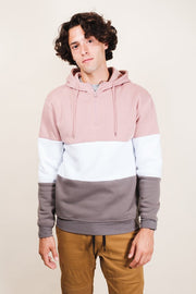Pink Mock Neck Quarter Zip Hoodie for Men