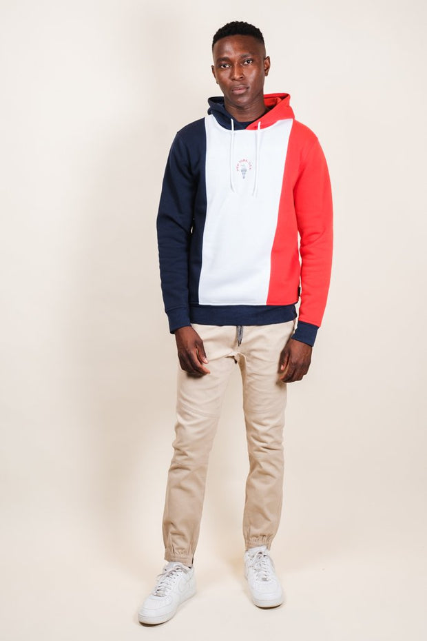 Brooklyn Cloth New York Vertical Color Blocked Hoodie for Men