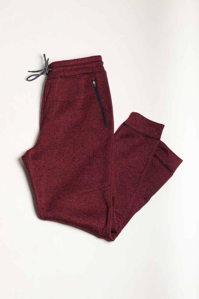 Wine Cozy Knit Jogger Pants