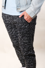 Black Printed Space Dye Fleece Jogger Pants