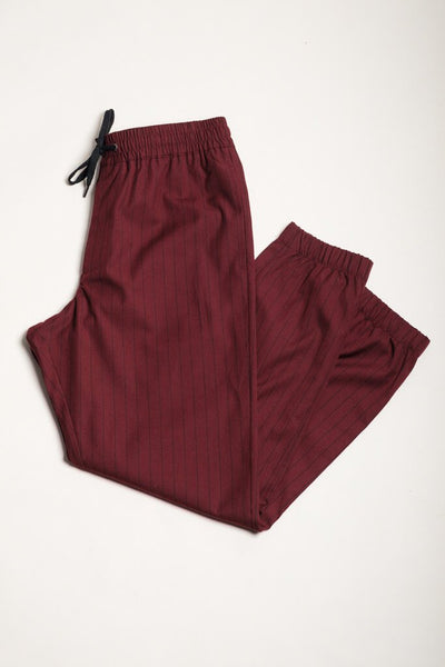 Wine Pinstripe Suit Pants for Men