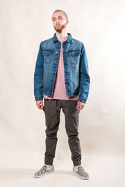 Medium Wash Distressed Denim Jacket