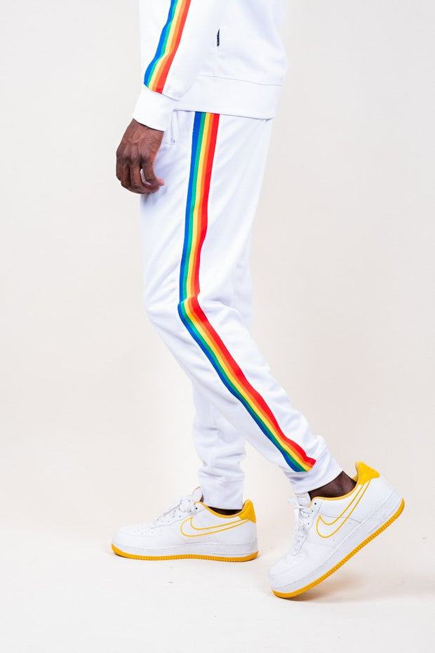 White Rainbow Track Jogger Pants