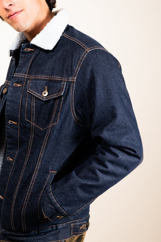 Dark Denim Sherpa Jacket