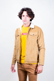 Tobacco Corduroy Sherpa Jacket for Men