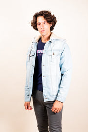 Light Wash Sherpa Hooded Denim Jacket
