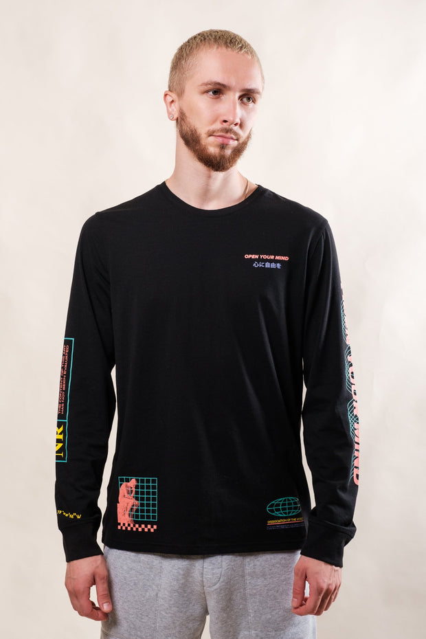 Black Open Your Mind Long Sleeve Tee