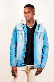 Medium Blue Sherpa Hooded Denim Jacket