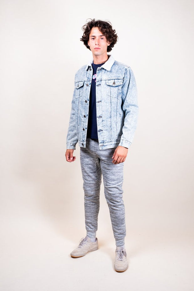 Light Wash Denim Sherpa Jacket
