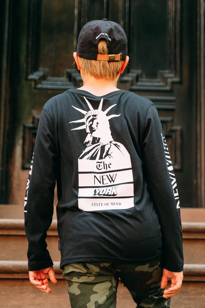 Boys' Black NY State of Mind Long Sleeve Tee