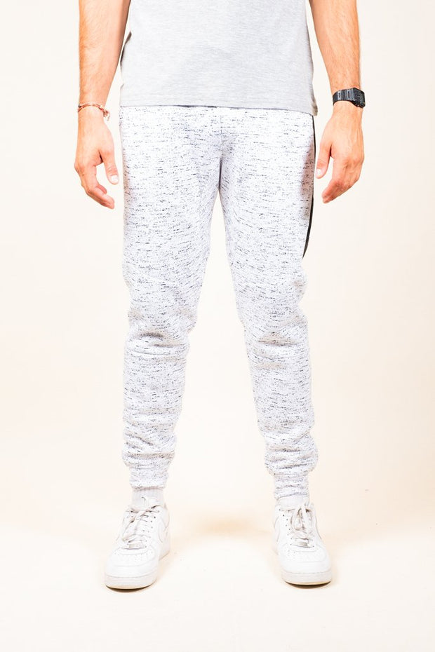 White Printed Space Dye Heat Seal Jogger Pants for Men