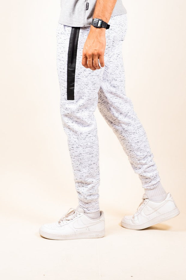 White Printed Space Dye Heat Seal Jogger Pants