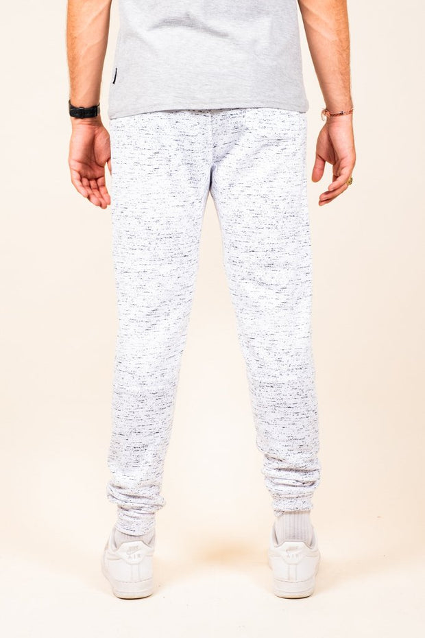 Brooklyn Cloth White Printed Space Dye Heat Seal Jogger Pants for Men