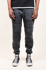 Black Heat Seal Space Dye Jogger Pants for Men