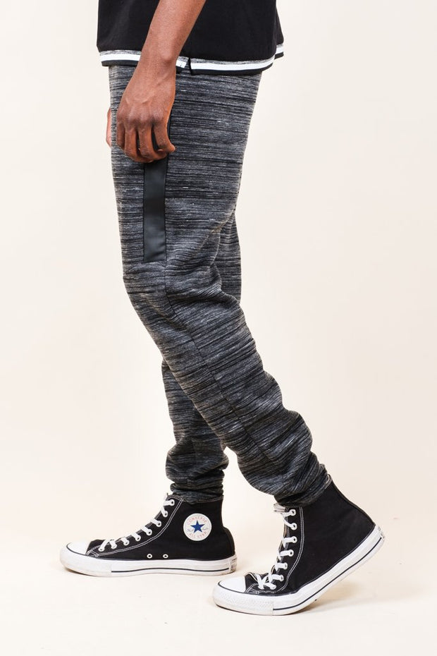 Black Heat Seal Space Dye Jogger Pants