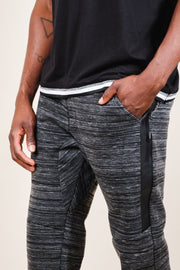 Men's Black Heat Seal Space Dye Jogger Pants