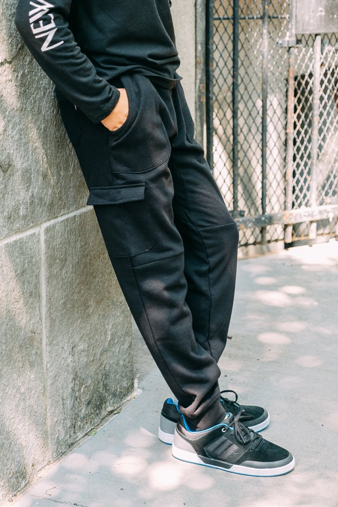 Boy's Black Cargo Pocket French Terry Jogger Pants