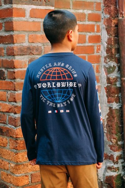 Boys Navy Blue Long Sleeve Shirt