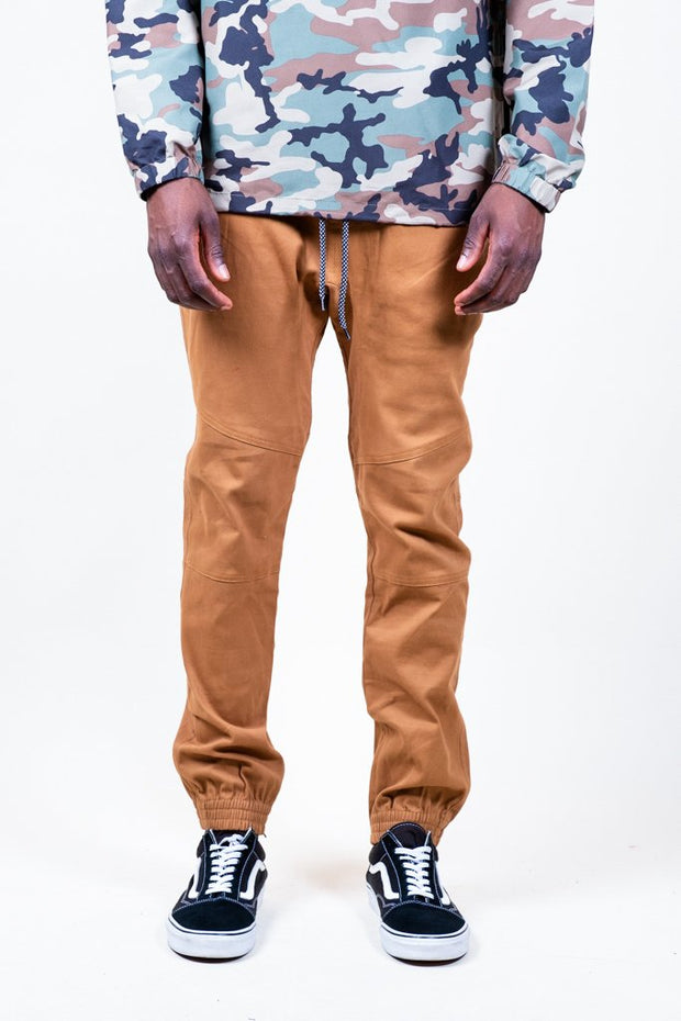 Tobacco Ankle Zip Twill Jogger Pants