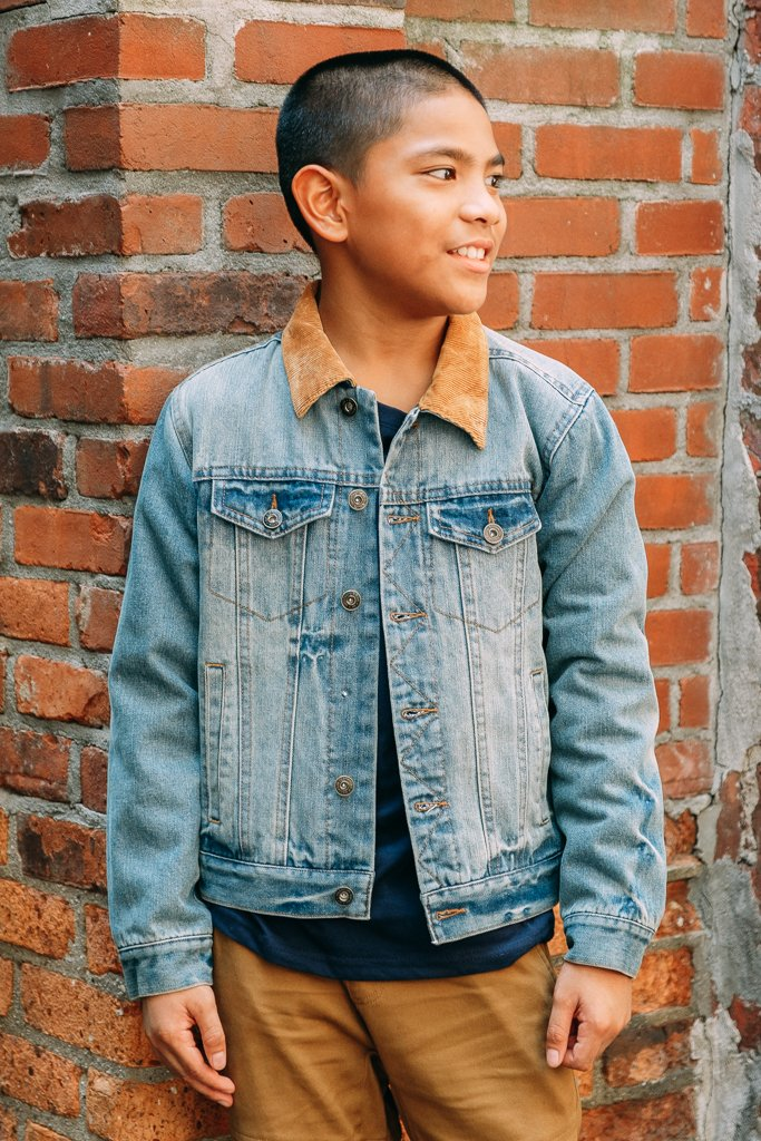 Boy's Lined Distressed Denim Jacket