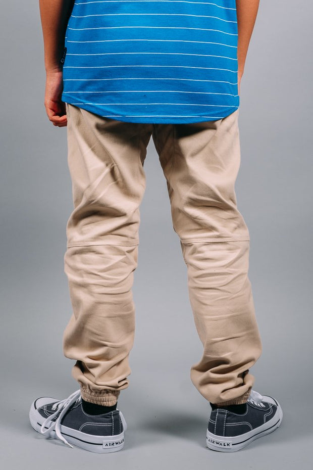Boys Khaki Color Jogger Pants at Brooklyn Cloth