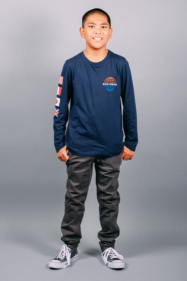 Boys Navy Long Sleeve Tee at Brooklyn Cloth