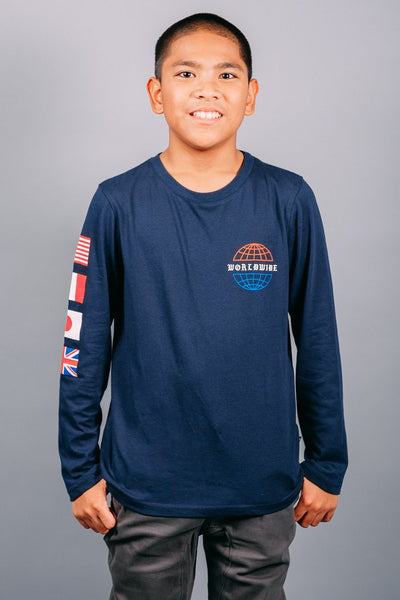 Boys Navy Long Sleeve T-Shirt