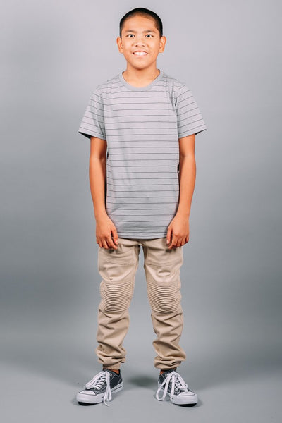 Boys Grey Striped Tee at Brooklyn Cloth