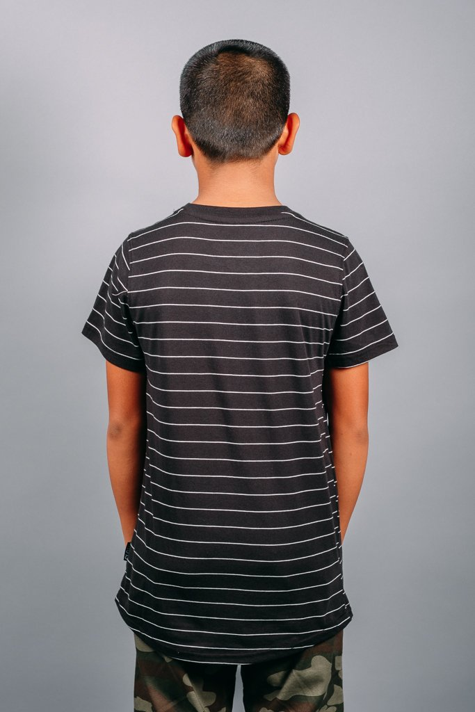 Boys' Black Rose Embroidered Striped Tee